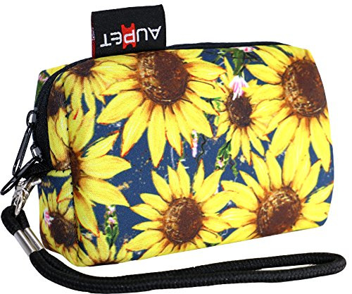 AUPET Sunflower Design Digital Camera Case Bag Pouch Coin Purse with Strap For Sony Samsung Nikon Canon Kodak