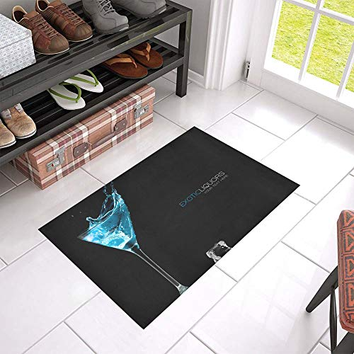 - ZXWXNLA Beautiful Nice Cocktail Glass Welcome Cleaner Doormat for Home and Business Indoors and Outdoors Dirt Trapper Door Mat Non-Slip Entrance Rug Carpet 23.6