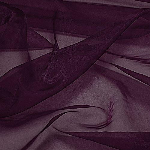 "mds Pack of 10 Yard Bridal SOLID Sheer Organza Fabric Bolt for Wedding Dress,Fashion, Crafts, Decorations Silky Shiny Organza 44""- Plum (Shiny Plum)"