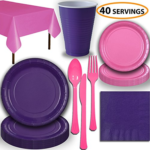 Disposable Party Supplies, Serves 40 - Purple and Hot Pink - Large and Small Paper Plates, 12 oz Plastic Cups, Heavyweight Cutlery, Napkins, and Tablecloths. Full Two-Tone Tableware Set -