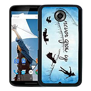 New Fashion Custom Designed Cover Case For Google Nexus 6 With Never Grow Up Peter Pan Movie Quote Black Phone Case