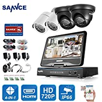 SANNCE 4 Channel 720P DVR Video Security System with Build-in 10.1 LCD Monitor and (4) 1.0MP 1280TVL Weatherproof Outdoor CCTV Cameras, Support P2P Technology and Remote Access (NO HDD)