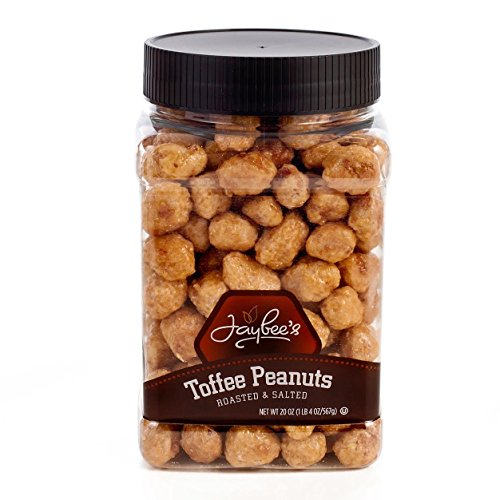 (Jaybee's Tasty Toffee Peanuts - Great for Holiday Gift Giving or As Everyday Snack - Reusable Container - Certified Kosher Perfect Nuts (20 Ounces))