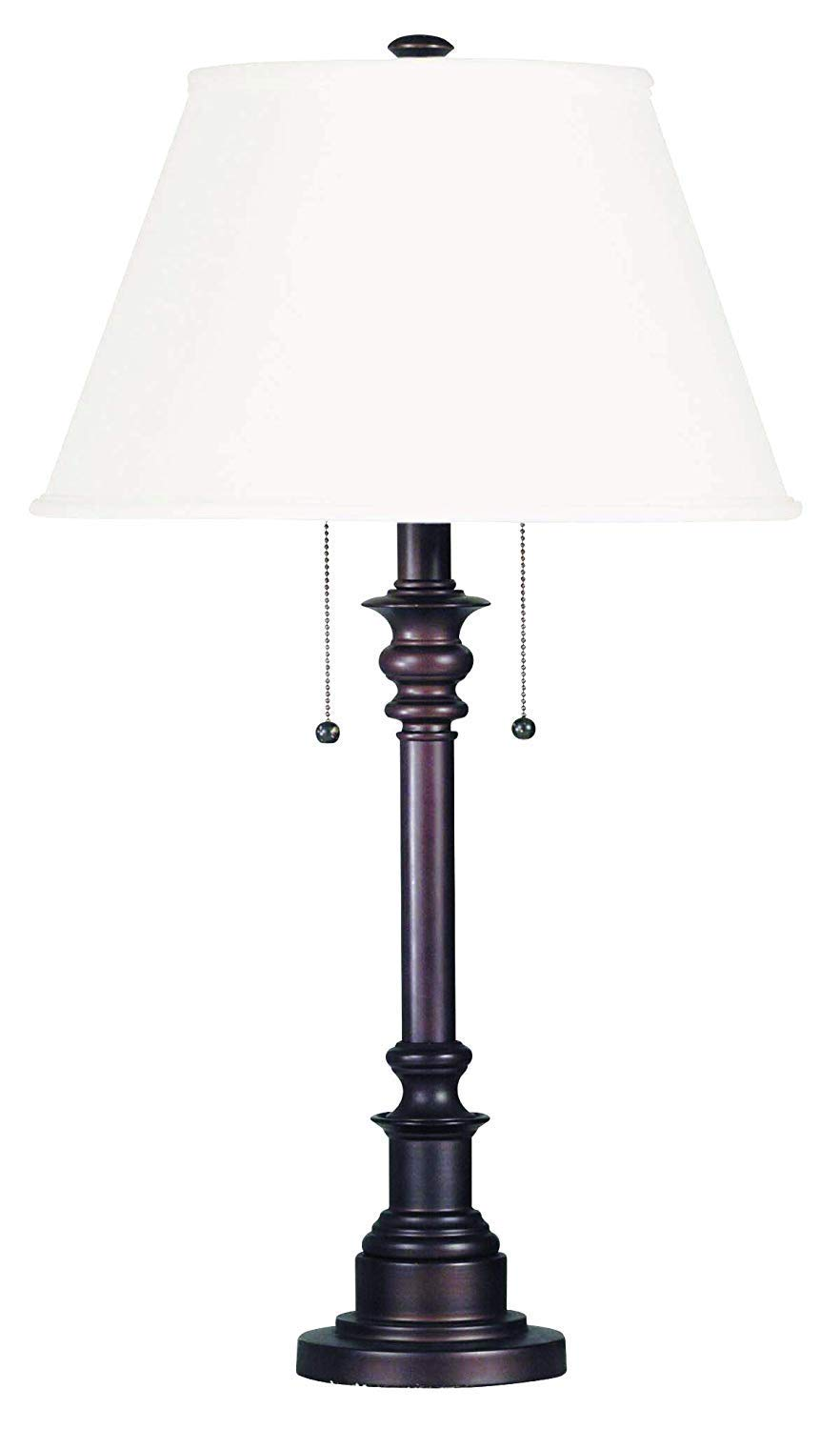 Kenroy Home Table Lamp with Bronze Finish, Dual On/Off Pull Chains, 30 Inch Height, White Natural Linen Shade