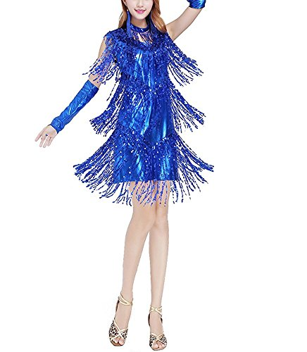 Whitewed Fringe Great Gatsby Flapper Latin Fancy Dancewear Dress Costumes , Blue, 4/6