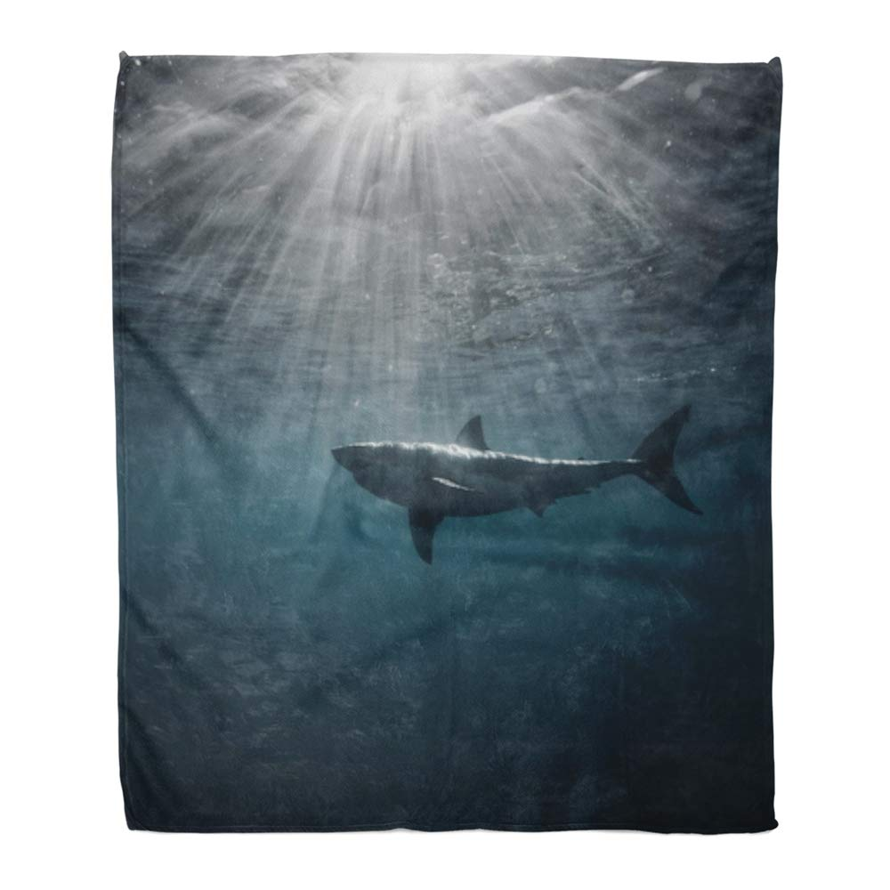 Emvency Throw Blanket Warm Cozy Print Flannel Great White Shark in Blue Ocean Underwater Photography Predator Hunting Near Comfortable Soft for Bed Sofa and Couch 60x80 Inches