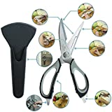 Product review for Heavy Duty Home Kitchen Shears by PQS with Non-Corrosive Stainless Steel Blades and Ambidextrous Grip Best Multi-Functional Scissors 8-in-1 With Magnetic Holder – As Sharp As Any Knife