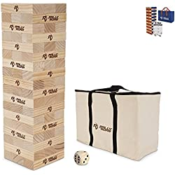 Giant Wood Toppling Tower Game - Wooden Timber Tumbling Blocks for Outdoors, Lawn, Parties - Durable Tumble Towers with Carrying Bag for Families - Fun Drinking Games For Adults, Bars - Classic, 27""