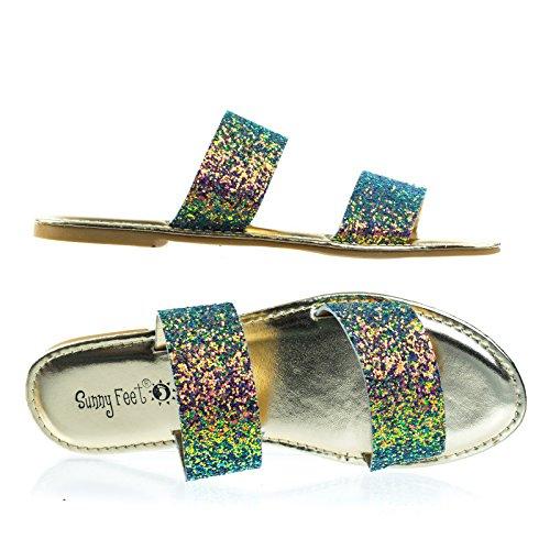 Dubbla Band Sten Glitter Flat Sandal, Toffel Skimrande Blå / Grön / Rosa