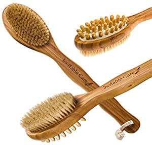 Shower back scrubber & Body Brush for Dry Skin Brushing with Natural Boar Bristles and a Long Handle - Bath Back Brush for Skin Exfoliating
