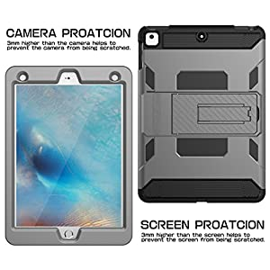 iPad Case,iPad Air Case,SKYLMW[Heavy Duty] Three Layer Hybrid Shockproof Full-Body Protective Case Cover With Kickstand for Apple iPad Air,iPad Air 2,iPad Pro 9.7,New iPad 9.7 2017 Release,Grey Black