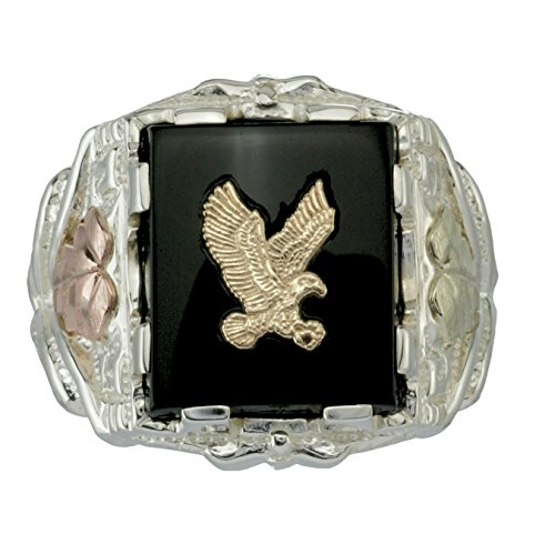 Men's Onyx Eagle Ring, 10k Yellow Gold, Sterling Silver, 12k Green and Rose Gold Black Hills Gold Motif, Size 9.25 (10k Eagle Ring)