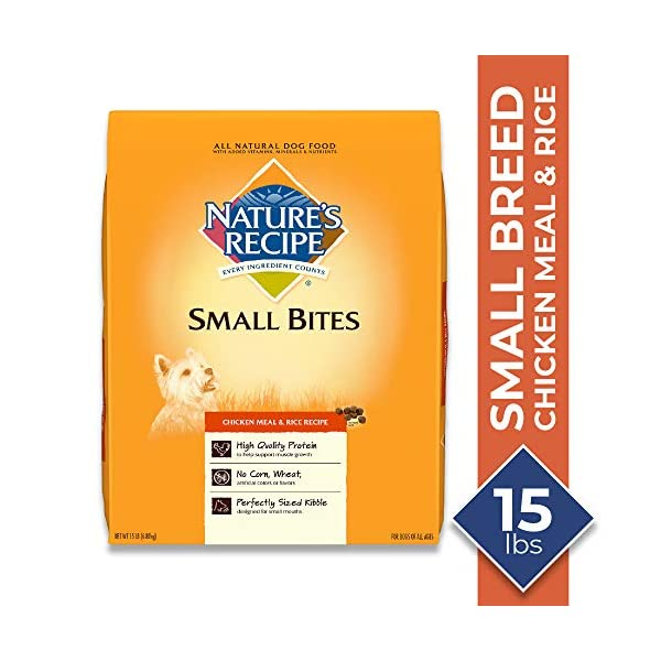 Nature's Recipe Small Bites Chicken Meal & Rice Recipe Dry Dog Food, 15 Pounds