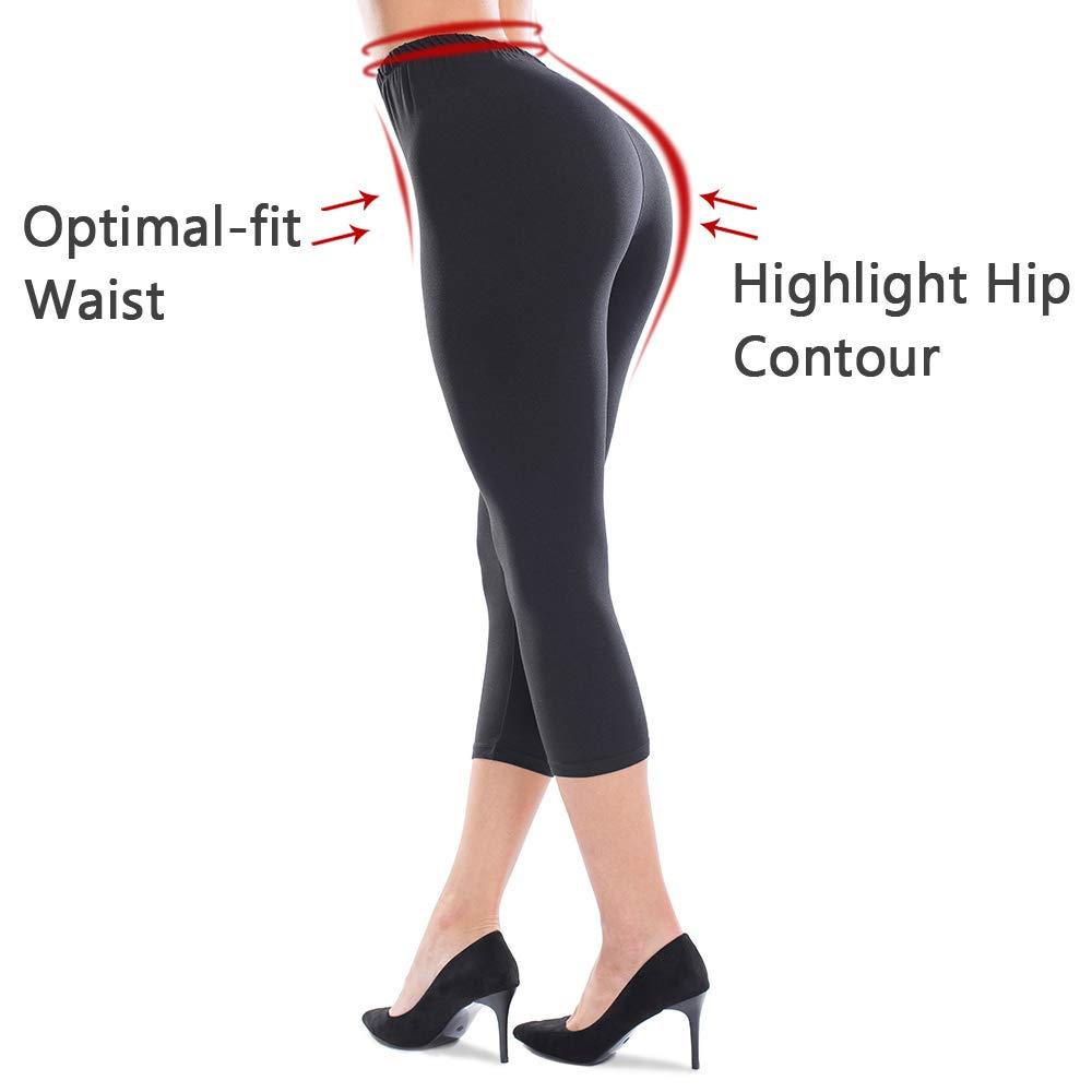 25b7a0c8e6a41 ZEALOTPOWER Capri Leggings for Women Plus Size Ultra Soft High Waist  Stretchable at Amazon Women's Clothing store: