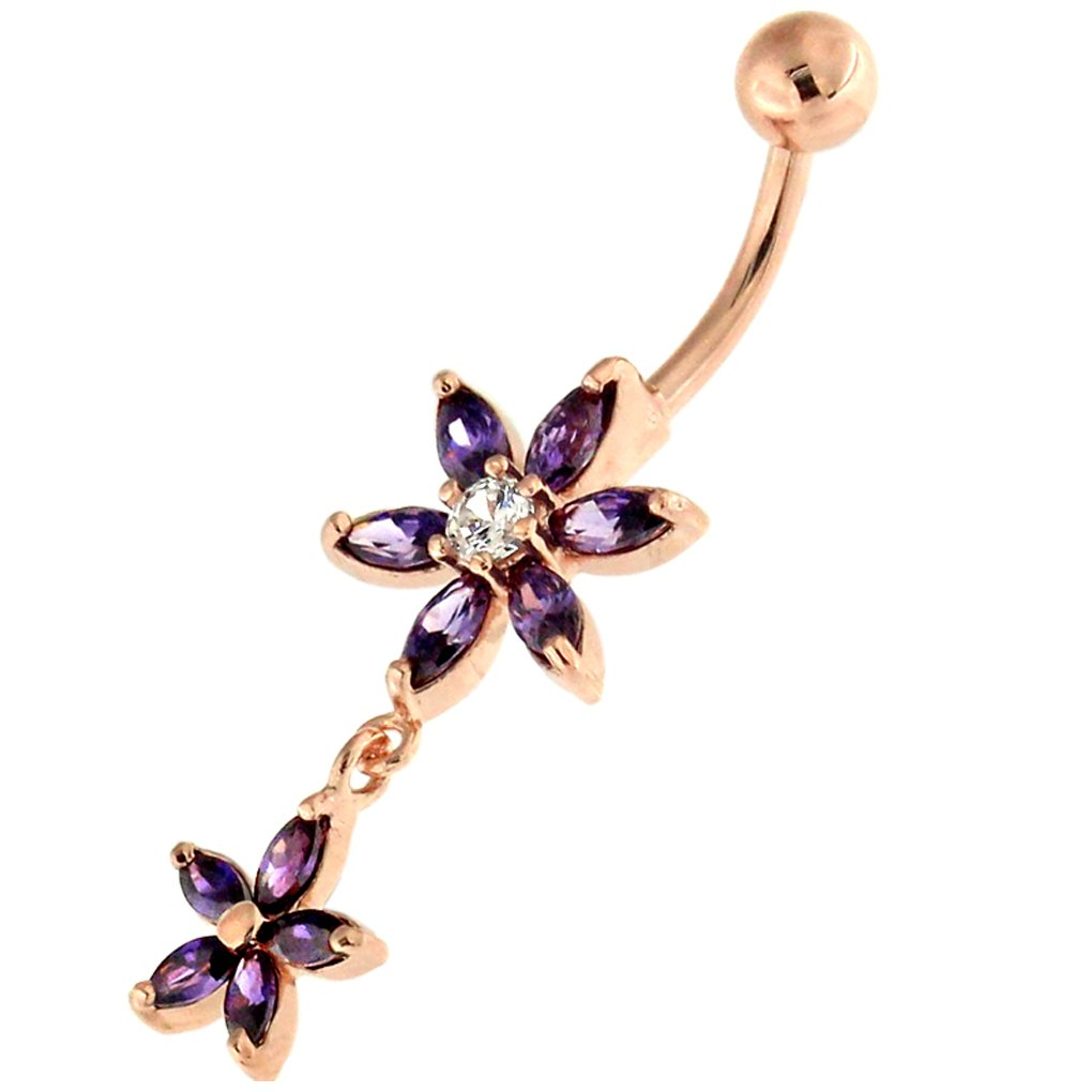 3 Micron 18K Rose Gold Plated CZ Stone Dual Flower Dangling 925 Sterling Silver Belly Button Ring