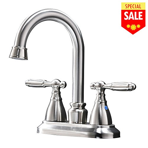 VESLA HOME Modern Stainless Steel Two Handle Bathroom Faucet, Brushed Nickel Bathroom Vanity Sink Faucet without - Bathroom Sink Center 4'