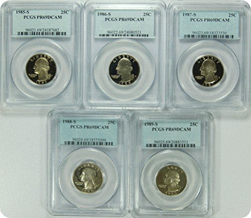 "0 S 1985-89S Date Run of ""5"" PCGS PR69DCAM Washington Quarters Quarter DCAM PCGS PR-69"