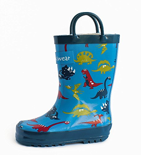 Kids Rubber Rain Boots Blue Dinosaurs