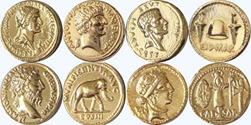 (Golden Artifacts Cleopatra Brutus Marcus Aurelius Julius Caesar 4 Roman Coins, Collectible Coin Sets Roman Empire (4ROME-G))