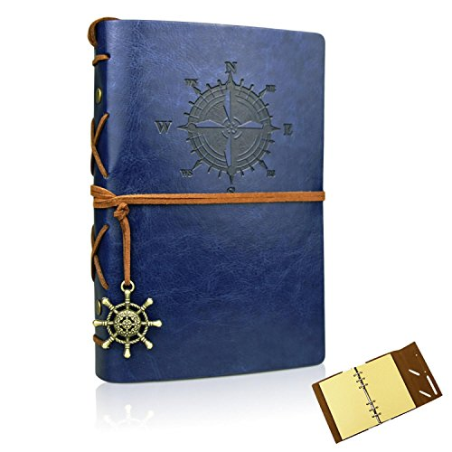 Leather Bound Writing Journal (Vintage Leather Travelers Notebook Refillable Journals Refillable Diary Planner Writing Notepad A6 Note Book for Men & Women, No Lines, 7 x 5 Inches, 80 Sheets/ 160 Pages(Dark Blue))