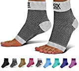 SB SOX Compression Foot Sleeves for Men & Women - Best Plantar Fasciitis Socks for Plantar Fasciitis Pain Relief, Heel Pain, and Treatment for Everyday Use with Arch Support (White, Medium)