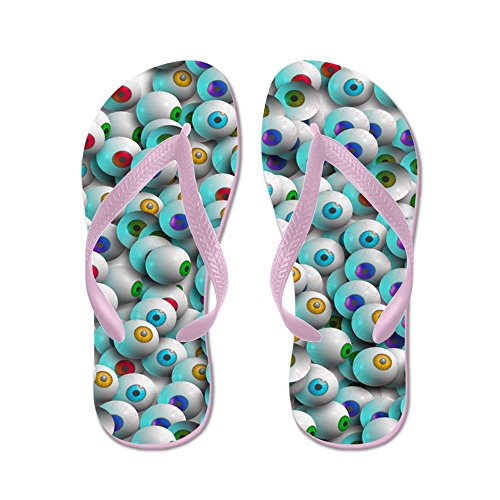 CafePress Eyeballs In Many Colors - Flip Flops, Funny Thong Sandals, Beach Sandals Pink