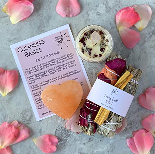 (Loving Light Ritual KIT - Selenite Crystal Heart, White Sage Wand, Sage Wand with Rose Petals, Palo Santo Stick, Love Candle Healing Incense, Love Attraction Ritual, Spiritual Love Cleansing)