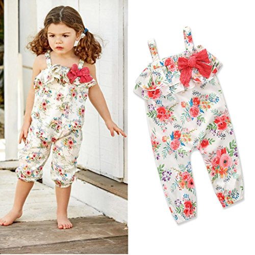 Franterd Baby Girls Straps Rompers, Kid Flower Print Jumpsuits Piece Pants Clothing (White A, 1T)