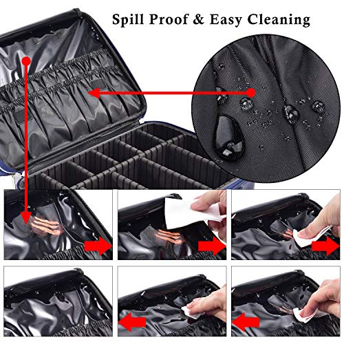 5a90ebd301b4 Joligrace Large Makeup Bag Organizer 15 Inch Professional Cosmetic Case 3  Layer Beauty Artist Storage Brush Box with Shoulder Strap PU Leather ...