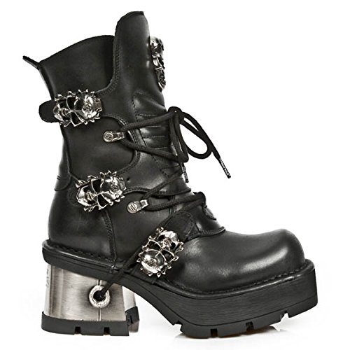 New Rock Women's Metallic Black Leather Boots M.1044-S1 (39 EU, BLACK) by New Rock Shoes (Image #4)