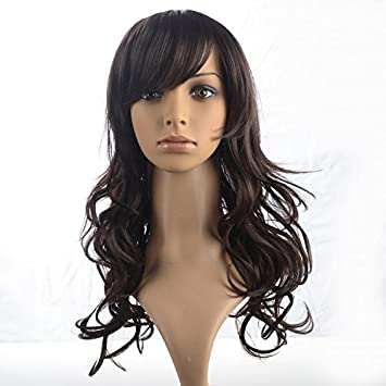 LYAN S Dark Brunette Tilted Frisette Big-Curly and Long Hairstyle Wigs for  Women 1754c4cc5