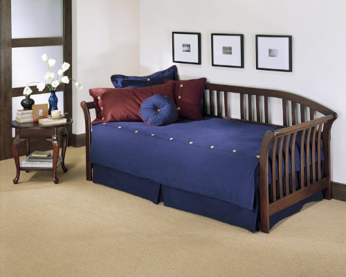 (Leggett & Platt Salem Wood Daybed Frame with Sleigh-Style Arms and Curved Back Panel, Mahogany Finish, Twin)