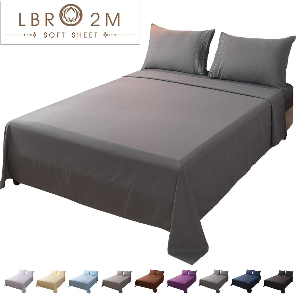 LBRO2M Bed Sheet Set Queen Size 16 Inches Deep Pocket 1800 Thread Count 100% Microfiber Sheet,Bedding Super Soft Hypoallergenic Breathable,Resistant Fade Wrinkle Cool Warm,4 Piece(Dark Grey) by LBRO2M