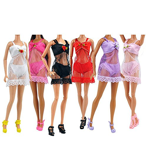 Lance Home Doll Bikini Clothes, 6 Sets Lace Pajamas Handmade Summer Swimsuit Swimwear Beach Bikini Underwear Pajamas Bathing Clothes for Barbie Sindy Liv Dolls Girls Pretend Play Toys