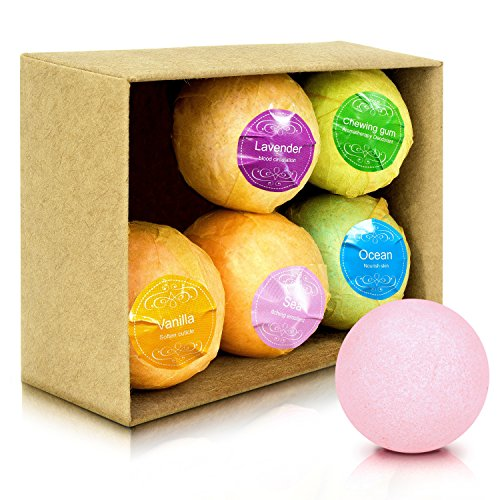 Bath Bombs Gift Set, F-color USA FDA Certified Handmade Bath Fizzy Balls Spa Kit with Organic Natural Ingredients for Moisturizing Dry Skin, Perfect Gift Bath Bombs for Women Kids Teens Men, 6 Pack