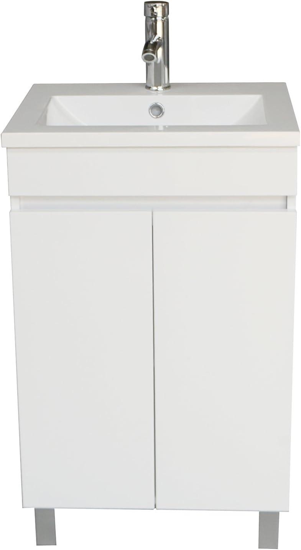 Sliverylake Contemporary White Bathroom Vanity Cabinet MDF Wood Undermount Sink Bathroom Vanity Set with Resin Sink White