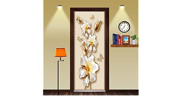 WXHCW 3D DIY Dimensiones Personalidad De La Flor Oro Extraíble Pegatinas Escénicas Dormitorio Puertas Sala De Estar Pegatinas De Pared Murales Decoración Creativa Impermeable Ambiental Auto-Adhesivo: Amazon.es: Hogar