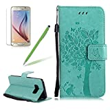 Girlyard Premium Slim Stand PU Leather Protective Case For Samsung Galaxy S8, Elegant Vintage Embossed Tree Cat Butterfly Pattern Wallet Flip Case Protective Skin Cover Book Style With Lanyard Strap-- Mint Green