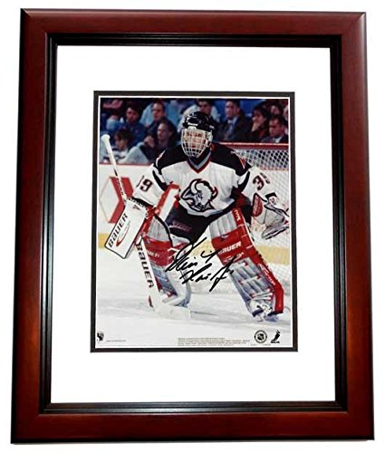 Dominick Hasek Signed - Autographed Buffalo Sabres 8x10 inch Photo MAHOGANY CUSTOM FRAME - Guaranteed to pass or JSA - PSA/DNA Certified (Sabres Photo Buffalo Nhl Signed)