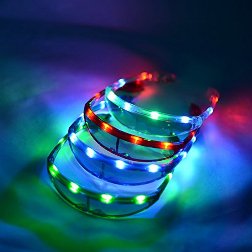 12 Pairs of LED UFO Slim Spaceman Light Up Party Glasses