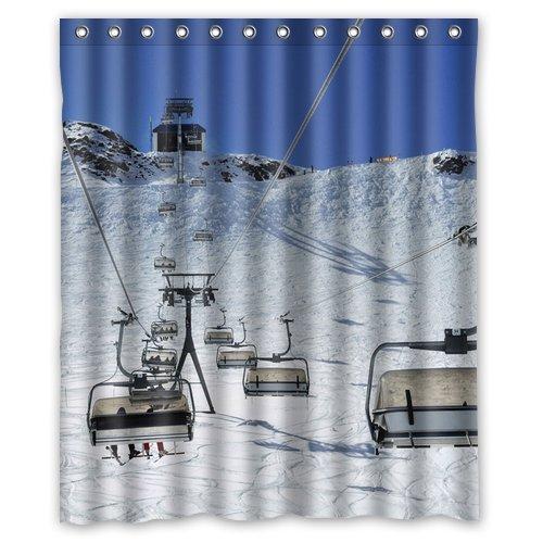 Ski Lift Background Waterproof Shower Curtain Bath Size 60quot
