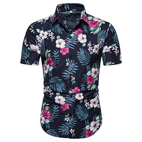 Shirt Relaxed-Fit Tropical Hawaiian Fashion Summer Bohe Short Sleeve Basic T Shirt Blouse Fit Slim Top Men (M,1- Navy) ()