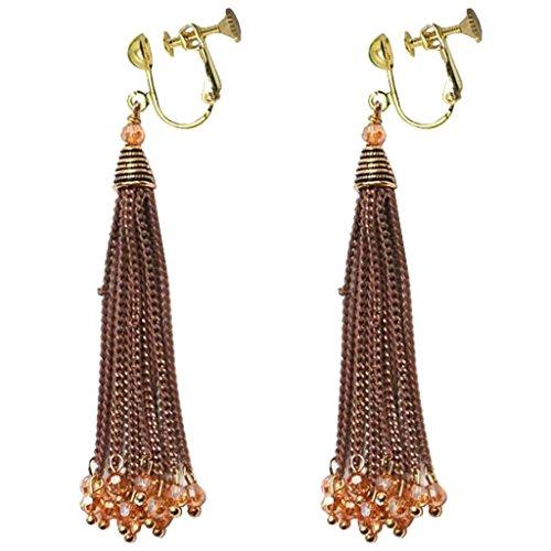 Fashion Long Chain Tassel Vintage Clip on Earrings Brown Crystal Dangle Prom Bar Dress Up for Girls Women