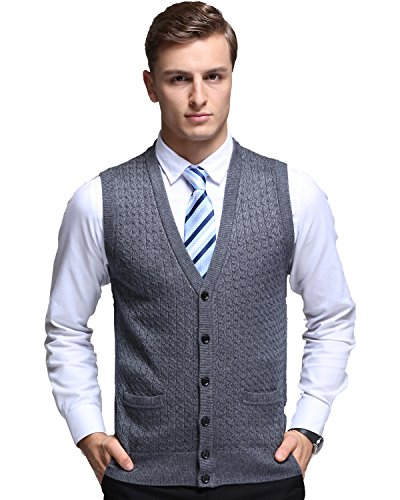Kinlonsair Mens Slim Fit Ribbed Knit Cardigan Sweater Vest with Pockets (Large, ZKSM501-Gray)