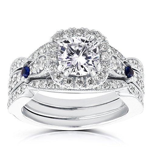 Diamant et saphir de mariage de Lot de 17/8carats (CT) en or blanc 14K (Ensemble de 3) _ 4.5