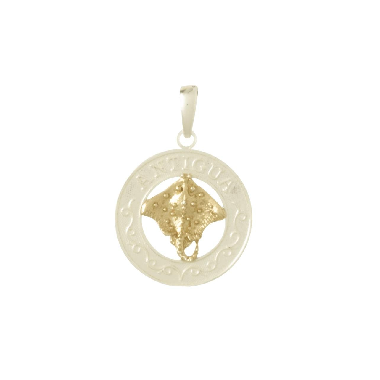 Sterling Silver & 14K Gold Antigua Circle Pendant