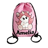 The Supreme Gift Company Personalised Kids Pink STAR UNICORN Drawstring Swimming, School, PE Bag For Girls