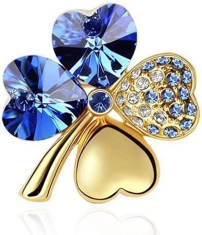 Motiv vierbl/ättriges Kleeblatt klein BR56 Ansteckbrosche Brosche Blaue Kristalle und Goldfarben elegant