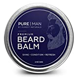 Facial Hair Styles Unique - PURE | MAN Beard & Mustache Balm / Wax / Butter / Oil / Leave In Conditioner - Thickens, Strengthens, Softens, Tames & Styles Facial Hair Growth - Best & 100% Natural - Soothes Itching