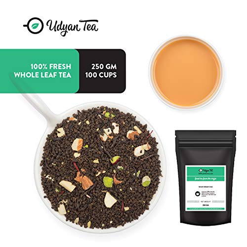 Udyan Shahi Kesar Chai Tea, 8.8 oz (100 cups) | CTC Black Tea with Orthodox Black Leaf, Kashmiri Saffron, Almonds, Pistachios | Kesar Chai Latte | Brews with Milk | No Added Flavour | Loose Leaf Tea